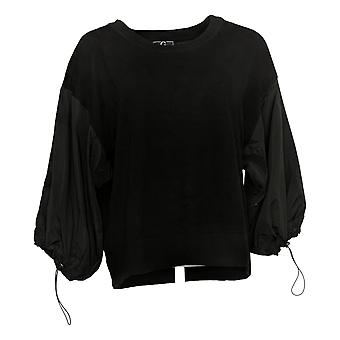 G By Giuliana Women's Top With Woven Sleeves Black 648-488