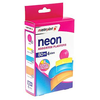 80-Pack MasterPlast Neon Patch Colorful 4 Sizes