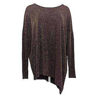 DG2 par Diane Gilman Women's Top Metallic Asymmetric Top Purple 679874