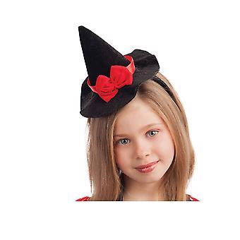 Serre-tête mini chapeau sorcière noir avec noeud rouge 13 cm