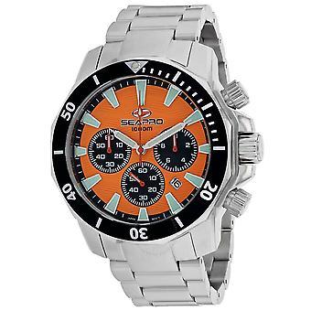 Seapro Scuba Dragon Diver Limited Edition 1000 Meters Chronograph Quartz Orange Dial Men's Watch SP8343