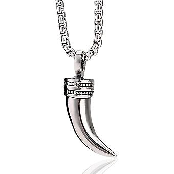 HaiFei Herren Halskette aus Edelstahl mit einem Style Edelstahl Zahn Anhnger und Samtbeutel