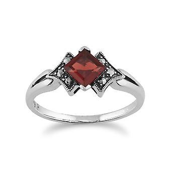 925 Sterling Silver Art Deco Garnet & Marcasite Ring