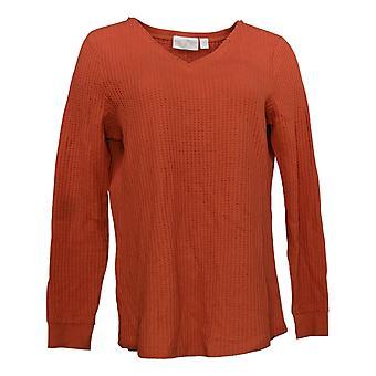 Belle By Kim Gravel Women's Top Waffle Knit Smile Hem Orange A383513