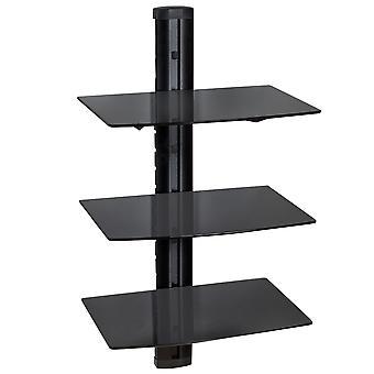 tectake Vægreol med 3 hylder til DVD-afspiller og modtager model 1 - sort
