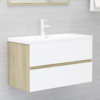 vidaXL Waschbeckenunterschrank Weiß und Sonoma 80x38,5x45 cm Spanplatte