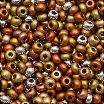Czech Glass Seed Beads, 8/0 Round, 1 Ounce, Supra Metallic Mix