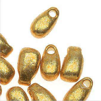 ميوكي قطرة طويلة الزجاج الخرز 5.5x3mm - الذهب المجلفن (25 غراما)
