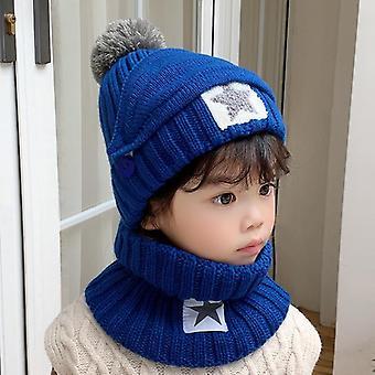 3pcs Winter Child Skullies Beanie Hat Scarf Mouth Mask Set