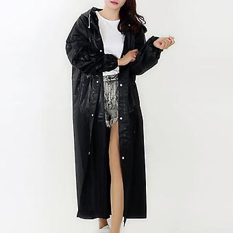 Environmental Women Raincoat, Men Black Clothes Cover, Hooded Poncho,