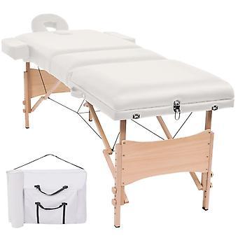 vidaXL Massageliege 3 Zonen Tragbar 10 cm Polsterung Weiß