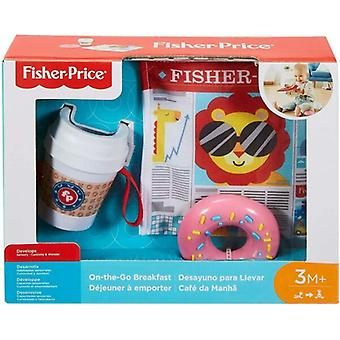 Fisher Price Coffee to Go Coffee Mug Donut Rattle and Newspaper Baby Gift Set