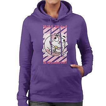 Pojke flicka hund katt musost vilda konstiga underbara kvinnors hooded sweatshirt
