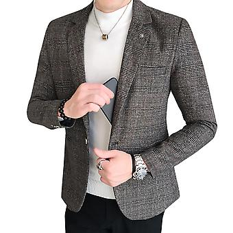 Yunyun Men's Casual Blazer Plaid Flat Vollar Single Breasted One Button Suit Jacket