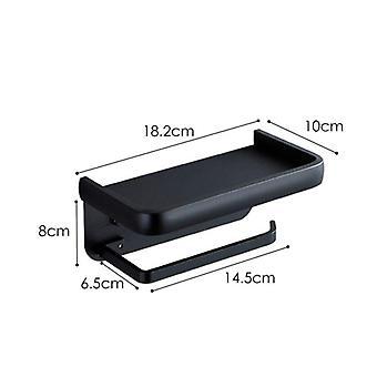 Aluminum Toilet Paper Holder Durable Bathroom Stand Can Put Phone (black)