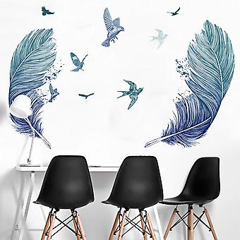 Blue Feater Wall Sticker Home Decal (size:100cm X 100cm)