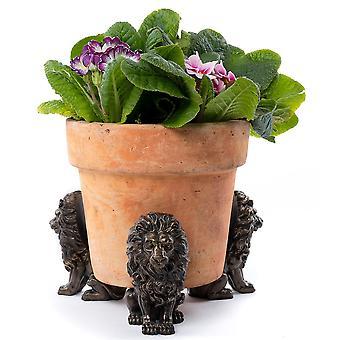 Potty Feet Decorative Lion Themed Plant Pot Feet Antique Bronze Color 3pc