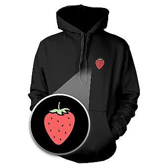 Strawberry Hoodie Pocket Print Hooded Sweatshirt Graphic Sweater
