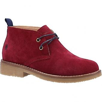 Hush Puppies Marie Ladies Suede Ankle Boots Dark Red