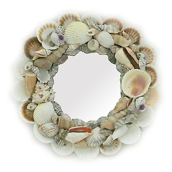 Natural Seashell Frame Small Round Wall Mirror 10 Inch Diameter