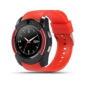 Caraele V8 Smart Watch Sim & Tf Card Support Bluetooth Smart Watch With Camera Sleep Monitor Wristwatch For Ios Android Smartphones(red)