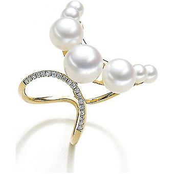 Luna-Pearls Süßwasser-Perlenring 585/- GG 19 Brillanten 0,10ct. Gr 56 (17.8mm)
