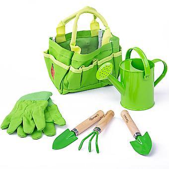 Dziecięca mała torba ogrodnicza z narzędziami, wajeczką i rękawiczkami ogrodniczymi
