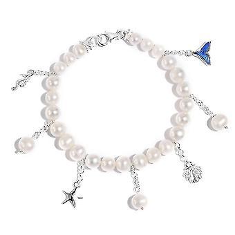 TJC White Pearl Charm Armband für Frauen 925 Sterling Silber 7 '' 10ct (7,5 Zoll)