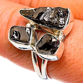 Rough Shungite Ring Size 9 (925 Sterling Silver)  - Handmade Boho Vintage Jewelry RING79192