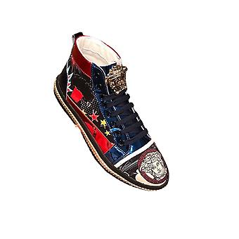 New Print Embroidery Personality Color Tie With High Help Men's Shoes Casual Board Shoes