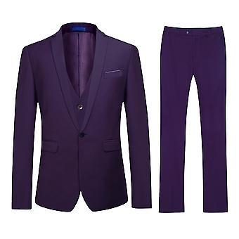 Mile Men's Solid Color Slim Single-button Three-piece Suit (top + Vest + Pants)