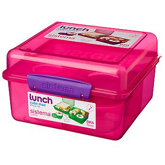 Sistema Lunch Cube Max Lunchbox met Yoghurt Pot, roze