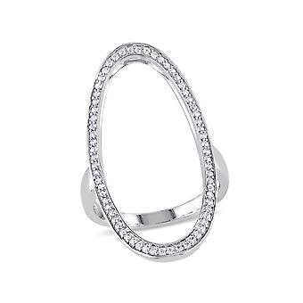 White Sapphire Geometric Ring in Sterling Silver