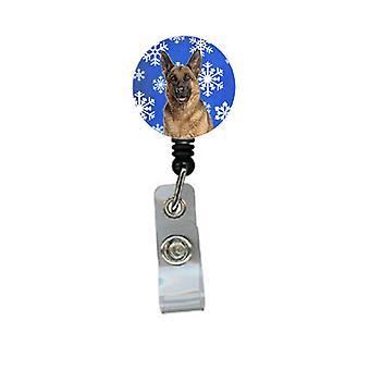 Winter Snowflakes Holiday German Shepherd Retractable Badge Reel
