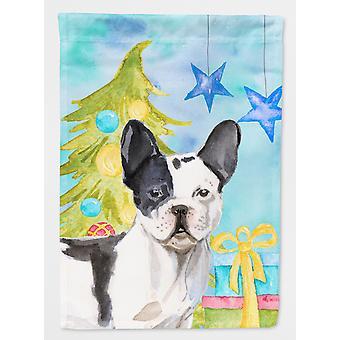 Svart hvitt fransk Bulldog Christmas flagg hage størrelse