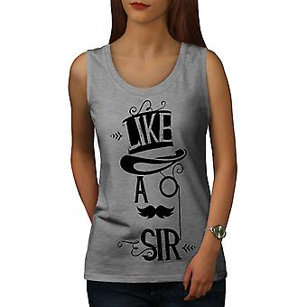 Sir Gentleman blague drôle femmes GreyTank Top | Wellcoda
