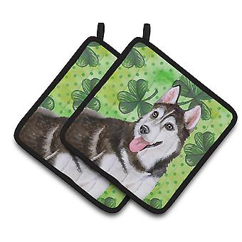 Siberian Husky #2 St Patrick's Pair of Pot Holders