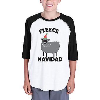 Fleece Navidad Kids Raglan Baseball Shirt Christmas T-Shirt For Youth