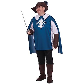 Musketeer Medieval French Cavalier Legend Renaissance Mens Costume Plus 1X