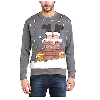 Unisex Adult Novelty Santa in Chimney Fun Xmas Festive Christmas Sweatshirt Jumper Blue