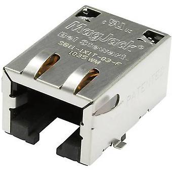 MagJack 10/100Base-TX5 transformatör sekmesi aşağı Soket, yatay montaj 10/100Base-TX Pin sayısı: 8P8C S811-1X1T-03-F Nikel kaplı, Metal BEL Stewart