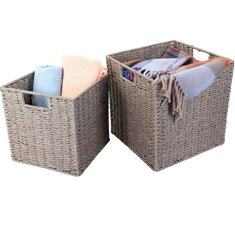 Natural Paper Rope Storage Baskets (Cool Grey, Set of 2)