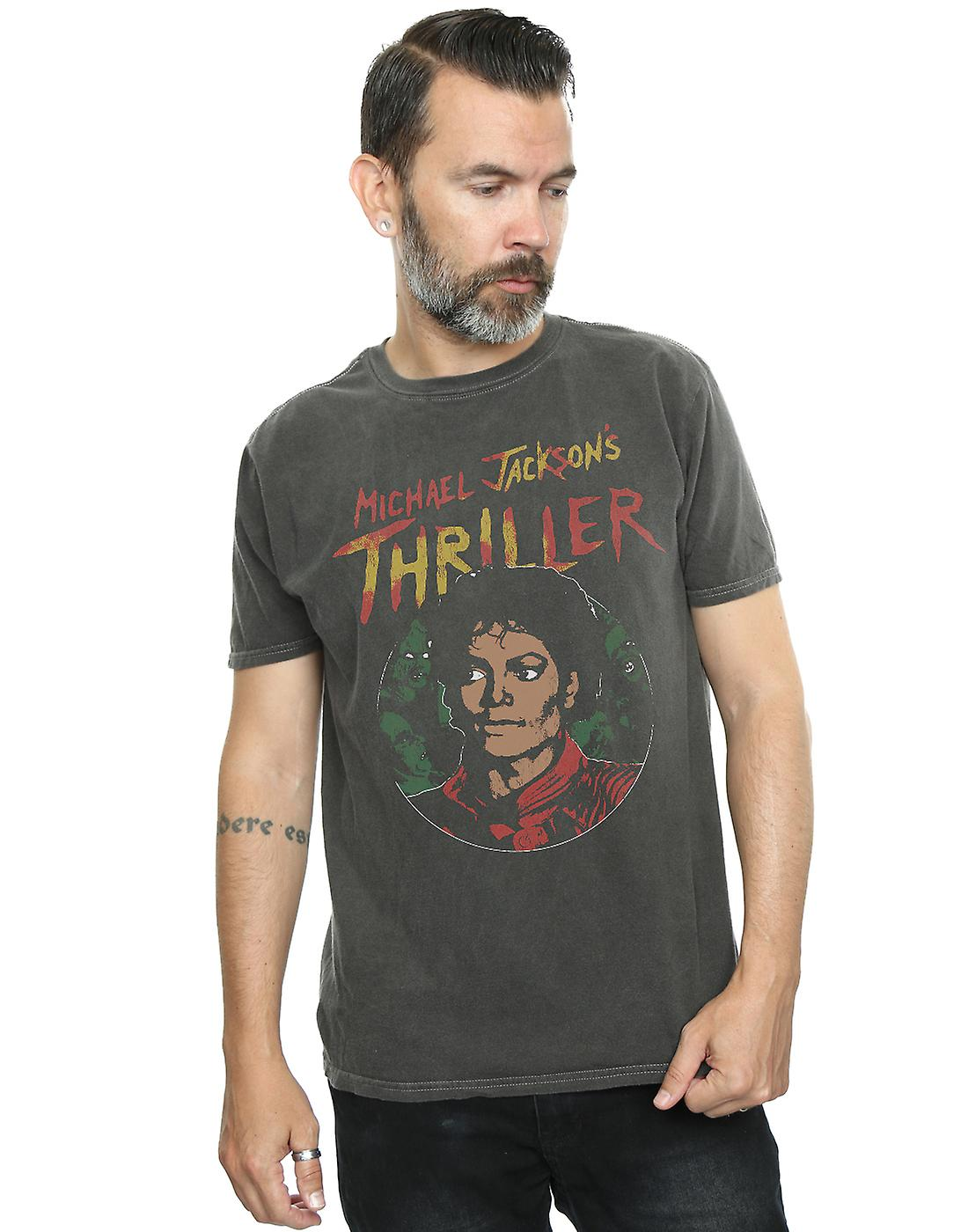 Michael Jackson Men's Collage Zombies Washed T-Shirt
