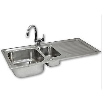 Kitchen Sinks 1.5 Bowl Stainless Steel Kitchen Sink Reversible Double Basin