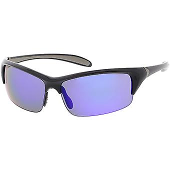 Semi Rimless TR-90 Wrap Sports Sunglasses Slim Arms Mirrored Lens 65mm