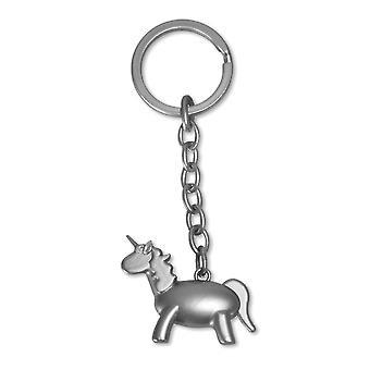 Breloc unicorn de culoare argintie, sortate de 2 ori, mat sau lucios, fabricat din metal.