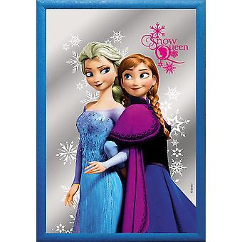 Disney Frozen Spiegel Elsa und Anna bedruckt, bunt, mit blauem Rahmen in Holzoptik.