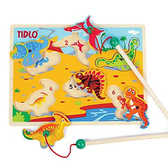 Tidlo Wooden Magnetic Dino Fun with Rods, Magnet Board Toy