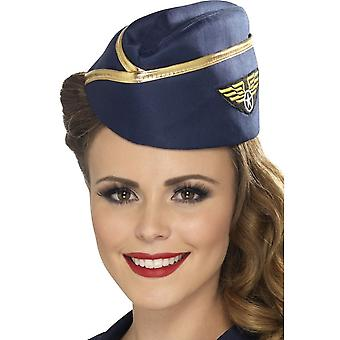 Smiffy's Air Hostess Hat, Blue, With Gold Rim