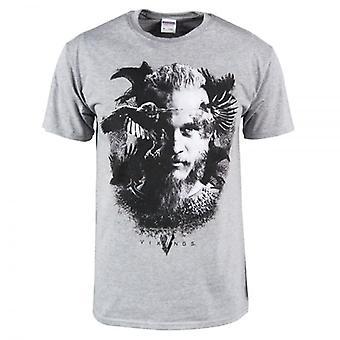 Raven T camiseta Heather Grey de vikingos hombres vikingos TV serie Odin